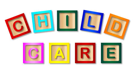 A few wooden childrens blocks spelling out the words child care