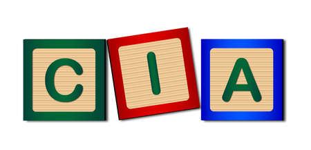 Wooden blocks spelling out CIA over white Ilustração
