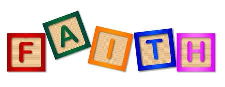 kiddies: fe, bloques, madera, de madera, de los ni�os, kiddies, construcci�n, religi�n, religioso, aislado, ejemplo, gr�fico, dibujo, nadie, ilustraciones, arte, vector Vectores