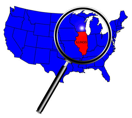 Illinois State Outline Set Into A Map Of The United States Of - Illinois in us map