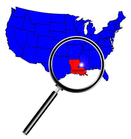 louisiana state: Louisiana state outline set into a map of The United States of America under a magnifying glass
