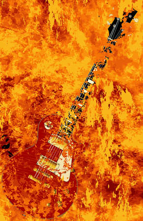 inferno: A solid body electric guitar burning in a inferno Illustration