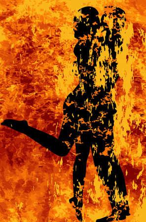 pareja apasionada: Una joven pareja besándose en medio de las llamas de la pasión Vectores