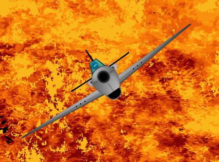 avion chasse: Une escalade avion de chasse sur les flammes Illustration