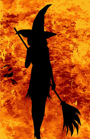 broomstick: A Halloween witch standing in the flames with her broomstick Illustration