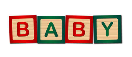 child's: Childs wooden blocks making up the word baby Illustration