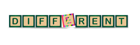 belonging: A collection of wooden blocks spelling out the word different