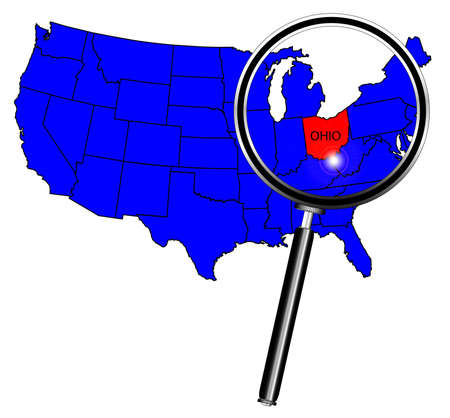 Ohio State Outline Insetinto A Map Of The United States Of America Under A Magnifying Glass