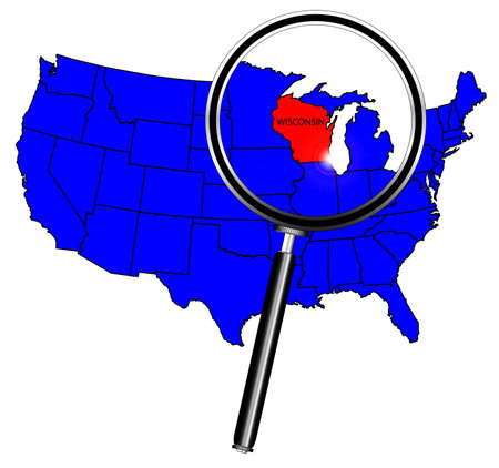 wisconsin state: Wisconsin state outline set into a map of The United States of America under a magnifying glass