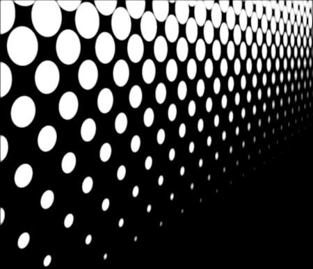 half tone: A half tone image with white dots set against a black background with perspective