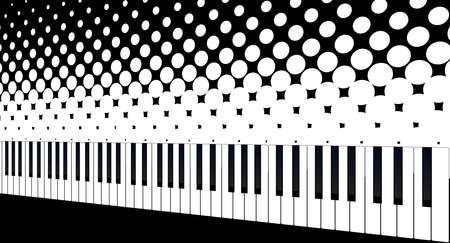 ebony: Black and white piano keys set against a black and white halftone style background