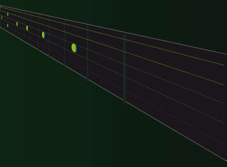 fretboard: A typical electric guitar neck and fretboard Illustration