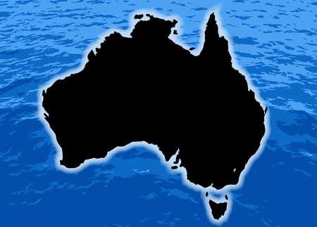 background image: Una imagen de las olas del mar de fondo abstracto con la silueta de Australia Vectores
