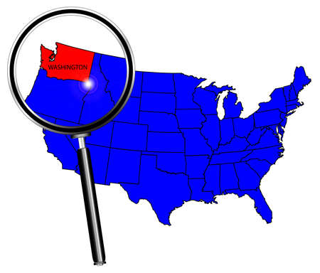 washington state: Washington state outline set into a map of The United States of America under a magnifying glass