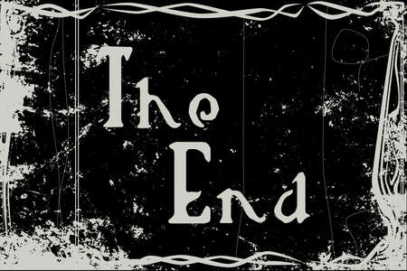 Extreme heavy grunge silent movie frame with text the end Illustration