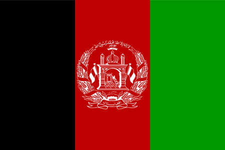 The national flag of Afghanistan in red black adn gteen with national emblem