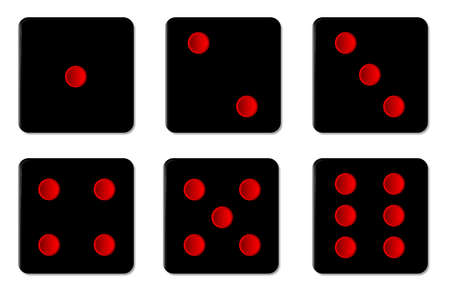 chances: The six faces of black dice with red spots over a white background Illustration