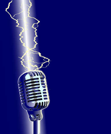 struck: A stage microphone being struck by a lightning bolt