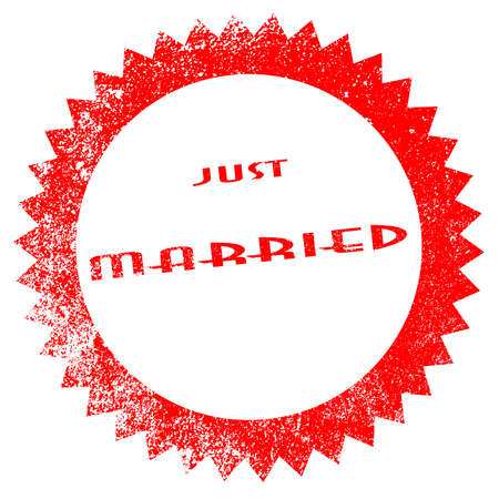 A just married red ink stamp on a white background