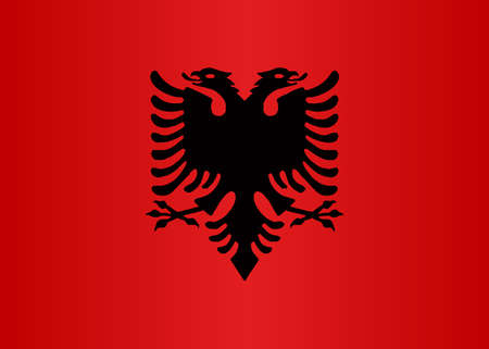 The flag of Albania with national emblem