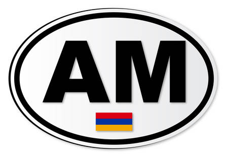 armenia: The AM plate attached to vehicles from Armenia travelling abroad Illustration