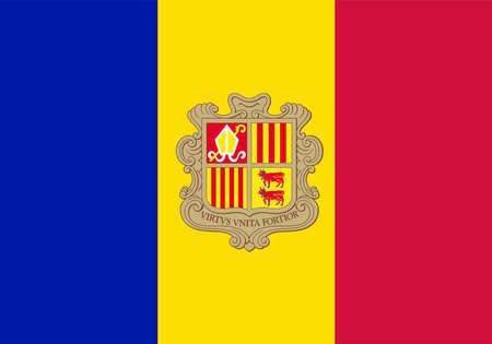 La bandera de Andorra con el escudo de armas en rojo azul y amarillo