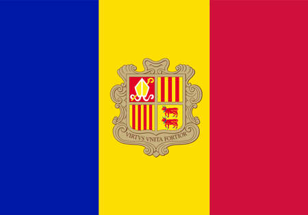 arma: The flag of Andorra with coat of arms in red blue and yellow