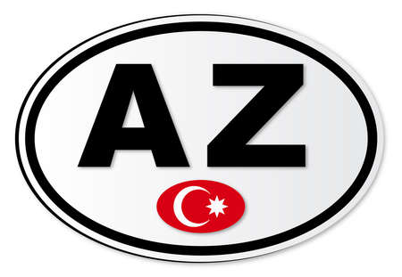 해외로: The AZ plate attached to vehicles from Azerbaijan travelling abroad 일러스트