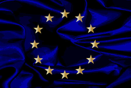 common market: Flag of the European Union with blue background and yellow stars with grunge effect