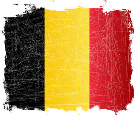 fleck: Belgium flag set on a heavy grunge background