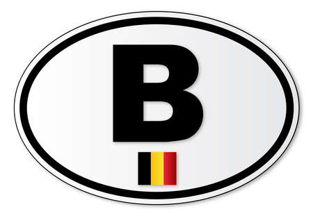 해외로: The B plate attached to vehicles from Belgium travelling abroad 일러스트