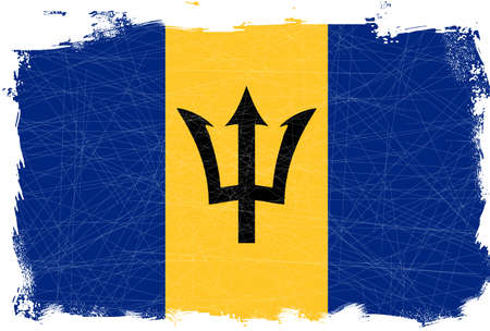 fleck: Barbados flag set on a heavy grunge background