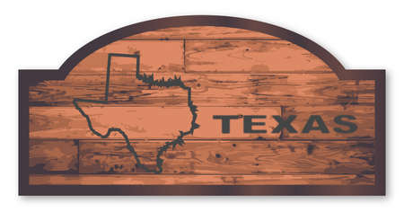 Texas map wooden store sign over a white background Illustration