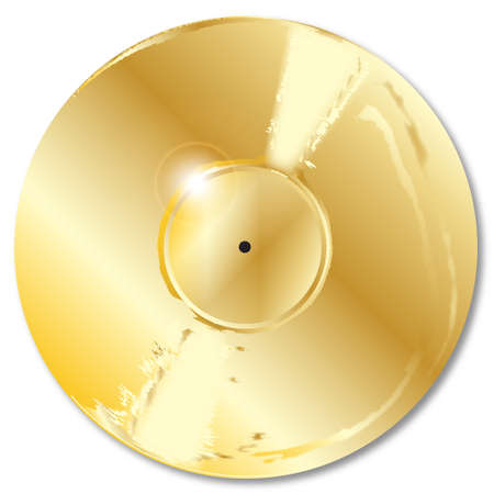 gold record: LP golden record with a blank labell over a white background.