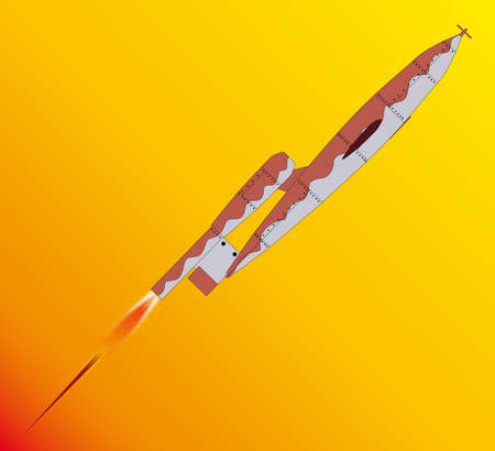 streamlined: V1 German World War 2 Rocket launched over a yellow background