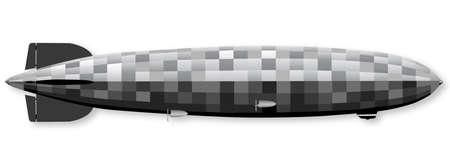 hindenburg: Large 1930sr German hydrogen filled airship over a white background Illustration