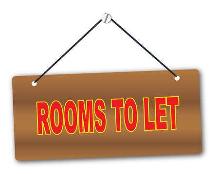 room to let: Rooms to Let Wooden sign in wood grain with red string and screw