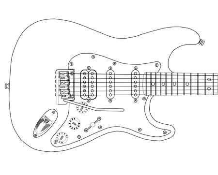 A electric guitar complete with tremolo system.