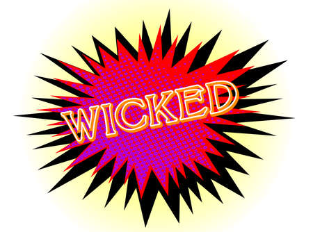 wicked: A cartoon style wicked explosive motif over a white background