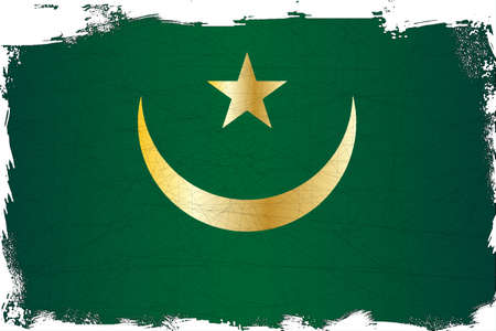 mauritania: The flag of the African country of Mauritania