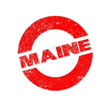maine: A rubber ink stamp with the text Maine Illustration