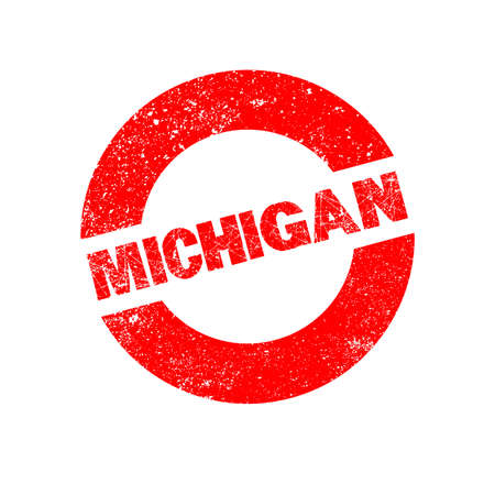 michigan: A rubber ink stamp with the text Michigan Illustration