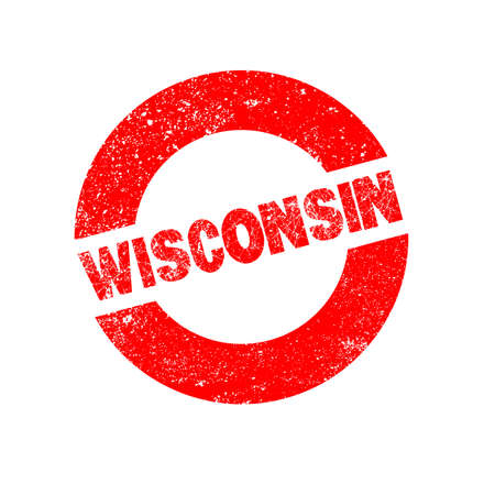 wisconsin: A rubber ink stamp with the text Wisconsin