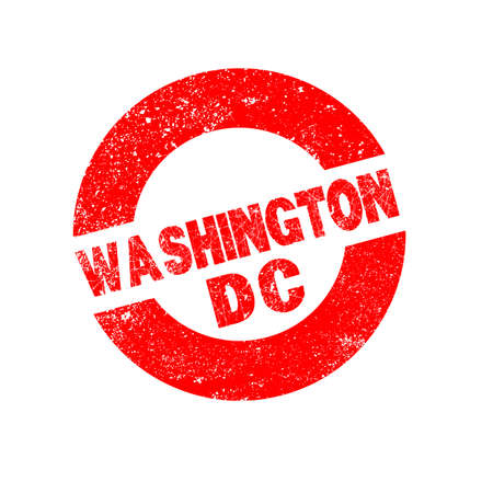 washington dc: A rubber ink stamp with the text Washington DC