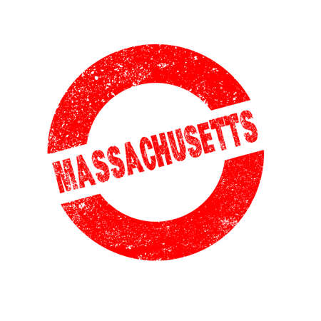 massachusetts: A rubber ink stamp with the text Massachusetts