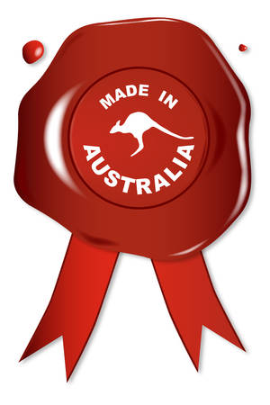 seal stamper: A wax seal with the text Made in Australia with kangaroo