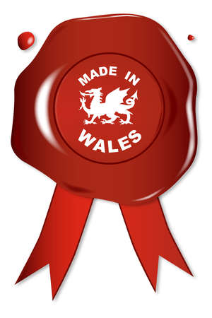 em: A wax seal with the text Made in Wales with the Welsh dragon.