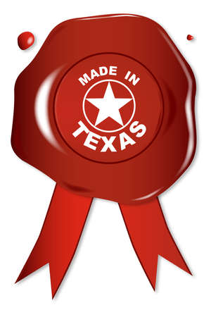 seal stamper: A wax seal with the text Made in Texas over a white background Illustration
