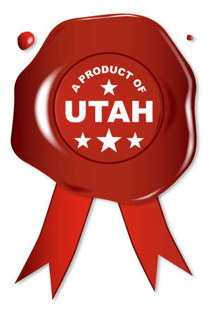 stamper: A wax seal with a the text A Product of Utah