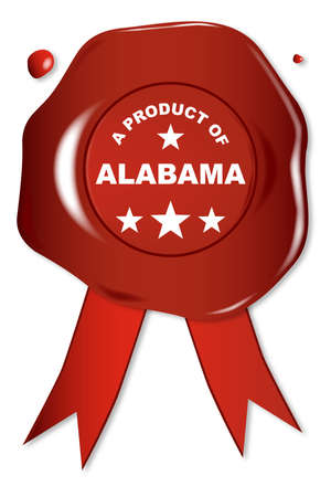 seal stamper: A wax seal with a the text A Product of Alabama